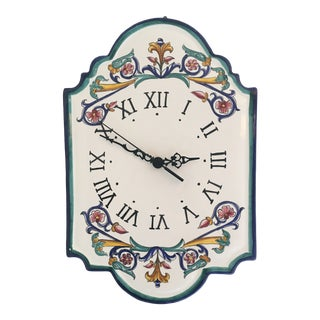 Italian Hand Painted Ceramic Wall Clock For Sale