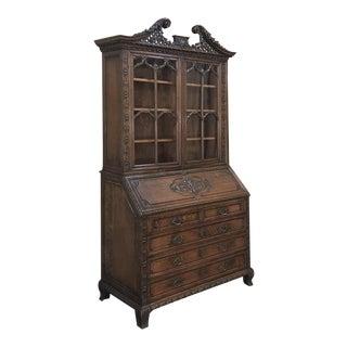 19th Century English Hand Carved Georgian Secretary ~ Bookcase