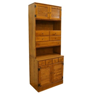 20th Century Traditional Ethan Allen Nutmeg Maple Shutter Door Cabinet with Bookcase For Sale