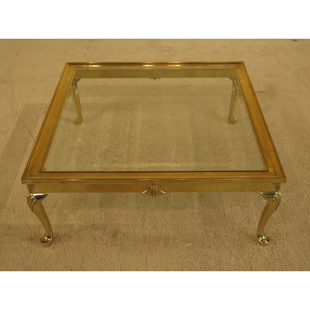 Traditional LaBarge Brass & Glass Coffee or Cocktail Table For Sale - Image 3 of 13