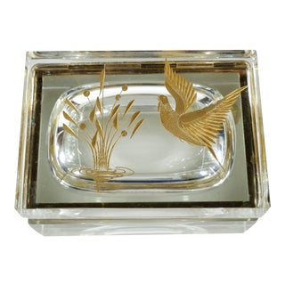Vintage Etched Gold Glass Murano Box Bird & Plant For Sale
