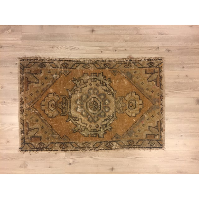Turkish Hand Kontted Faded Rug - 1′8″ × 2′7″ For Sale - Image 6 of 6