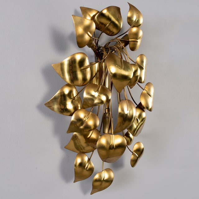 1970s Cascading Leaves Gilt Metal Light Fixture Attributed to Maison Jansen For Sale - Image 5 of 13