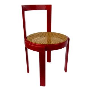Vintage C1930s-50s Mid-Century a La Joseph Hoffman, Thonet, Bauhaus-Style Red Lacquered Bentwood Cane Chair For Sale