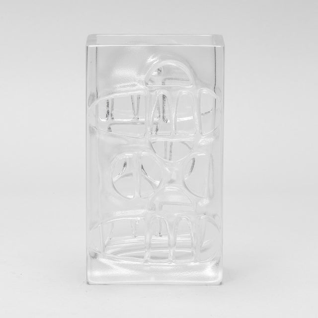 Scandinavian Molded Clear Glass Vase For Sale In Detroit - Image 6 of 6