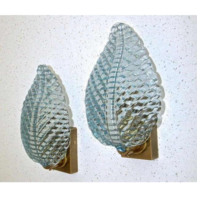 1950s Barovier Murano Aqua Blue Leaf Glass Wall Sconces - a Pair For Sale - Image 12 of 12