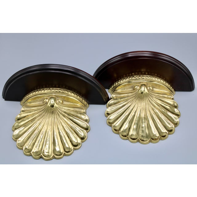 Coastal Wood and Brass Clam Shell Wall Shelves - a Pair For Sale - Image 9 of 13