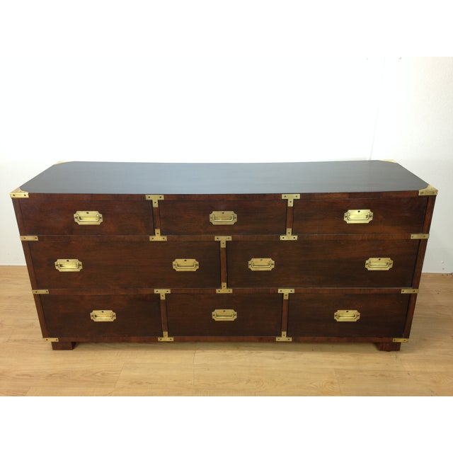 Campaign Style Large Mahogany Chest - Image 2 of 6