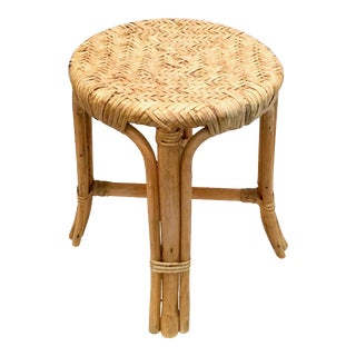 Late 20th Century Vintage Wicker Stool For Sale