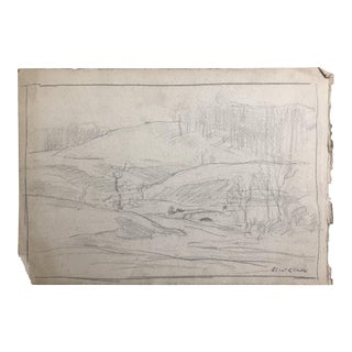 1930s Vintage Eliot Clark Impressionist Inspired Landscape Drawing For Sale