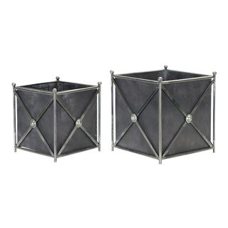 Kenneth Ludwig Home Metal Planter Set - a Pair For Sale