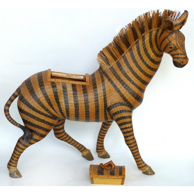 Black Chinese Woven Reed Zebra Trinket Box For Sale - Image 8 of 13