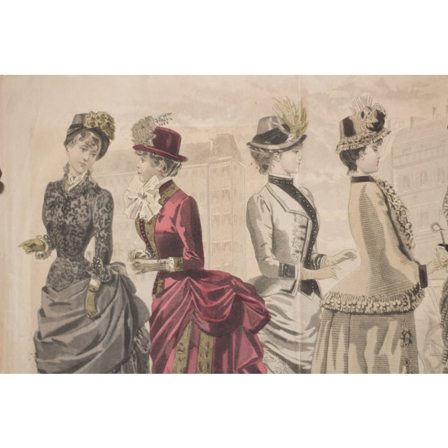 French Antique High-Society Dressed Fashion Print, 1880s For Sale - Image 3 of 5