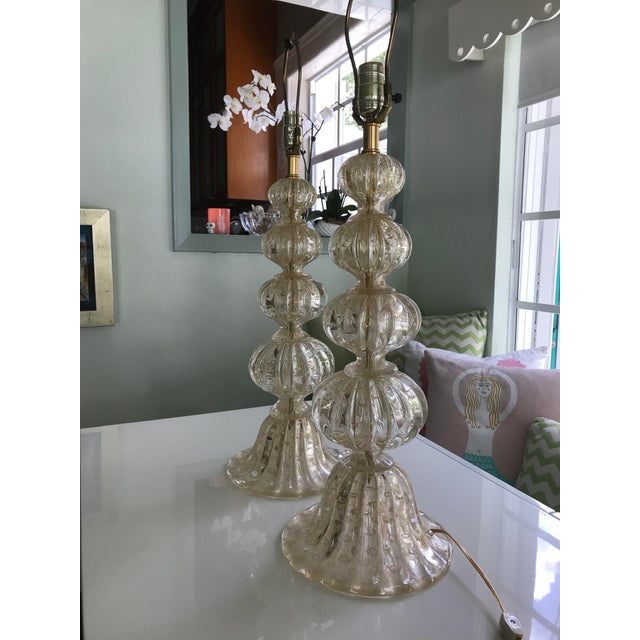 Glass Barbara Barry for Baker Murano Table Lamps - A Pair For Sale - Image 7 of 7