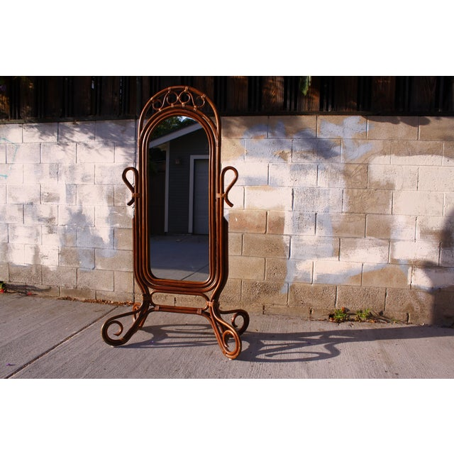Mid Century Bent Rattan Cheval Mirror - Image 3 of 11