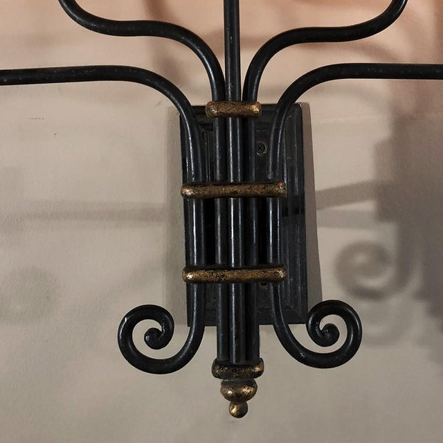 Pair Mid-Century Hand Forged Wrought Iron Country French Iron Sconces With Bronze Accents For Sale In Baton Rouge - Image 6 of 12