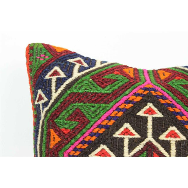 Boho Chic Vintage Turkish Kilim Wool Rug Pillow Case For Sale - Image 3 of 6