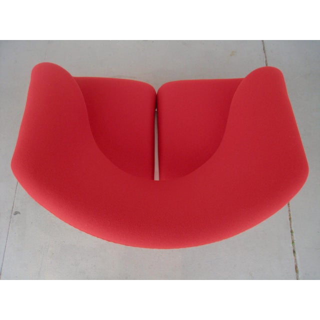 Wood 1960s Pop Art Pierre Paulin Red Wool Ribbon Chair For Sale - Image 7 of 13