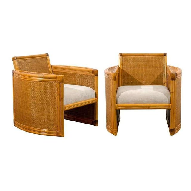 White Unusual Pair of Bamboo and Raffia Lounge/Club Chairs For Sale - Image 8 of 8