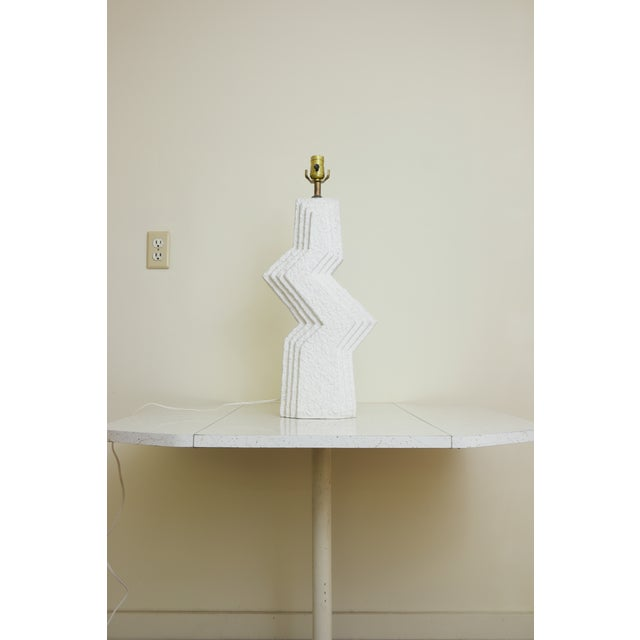 1950s Vintage Art Deco White Sculptural Table Lamp For Sale - Image 5 of 9