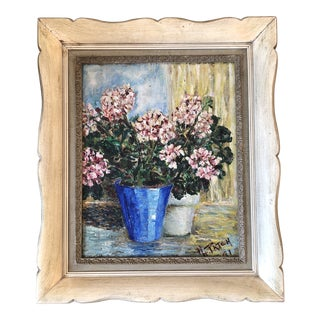 Original Vintage Modernist Still Life Floral 1040's Painting For Sale