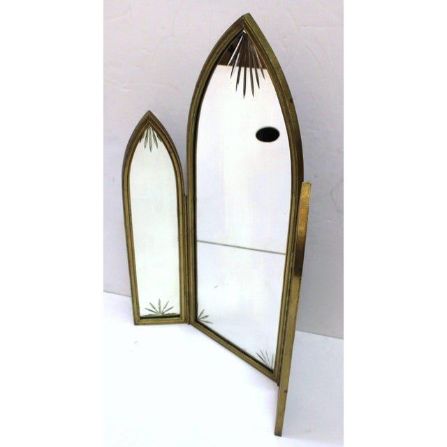 1930s French Art Deco Bronze With Etched Glass Tri-Fold Mirror For Sale - Image 5 of 9