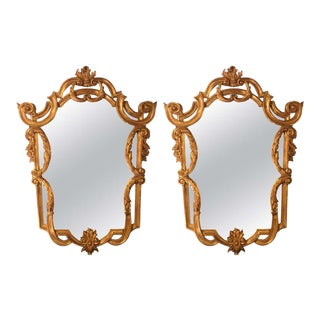 Louis XV Style Console, Pier or Wall Mirrors, Giltwood Carved Frames - a Pair For Sale