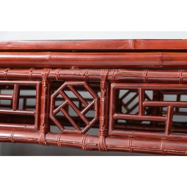Bamboo Antique Chinese Chippendale Bamboo Altar Table/Console For Sale - Image 7 of 13