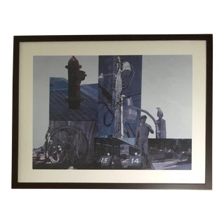 Robert Rauschenberg Urban Scenery Large Framed Collage Poster For Sale
