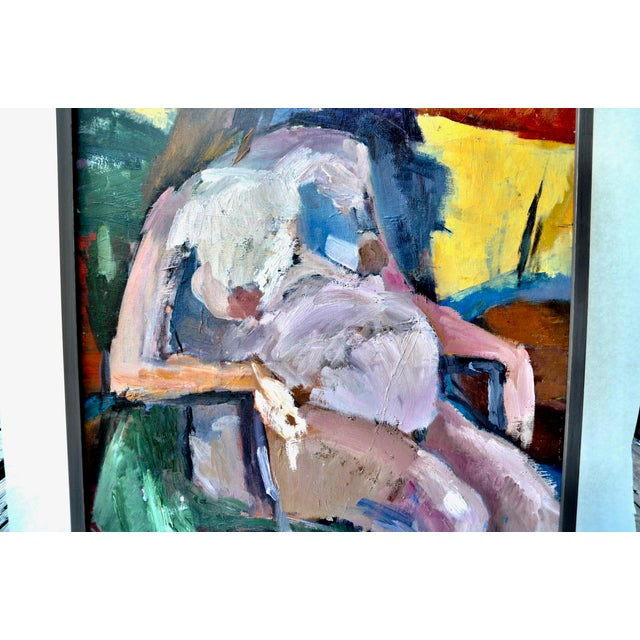 A fine 1970s oil painting on canvas board by artist Baker. Strong broad brushstrokes with dynamic colors make for a...