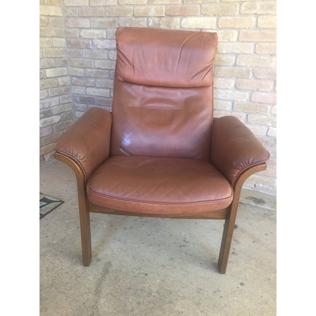 G Mobel Sweden Reclining Lounge Chair & Ottoman For Sale - Image 4 of 11