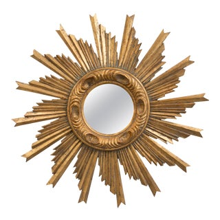 Mid Century French Carved Gilt Wood Sunburst Mirror For Sale