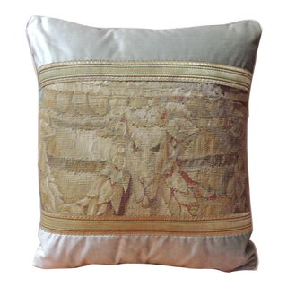 19th Century Aubusson Tapestry and Grey Silk Velvet Decorative Pillow For Sale