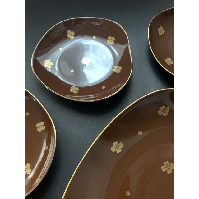 Mid 20th Century Vintage Mid Century Brow Gilded Cake Dessert Serving Set - 7 Pieces For Sale - Image 5 of 11