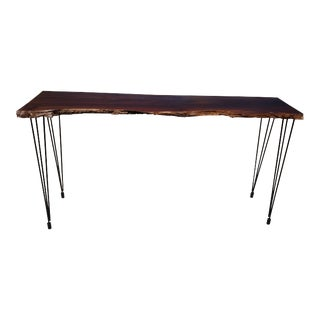 Solid Walnut Live Edge Slab Console Table For Sale