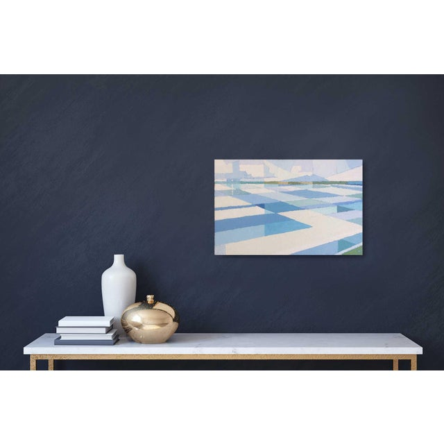 This is a painting which takes a geometric approach to representing the subtle variations in the surface movement of the...