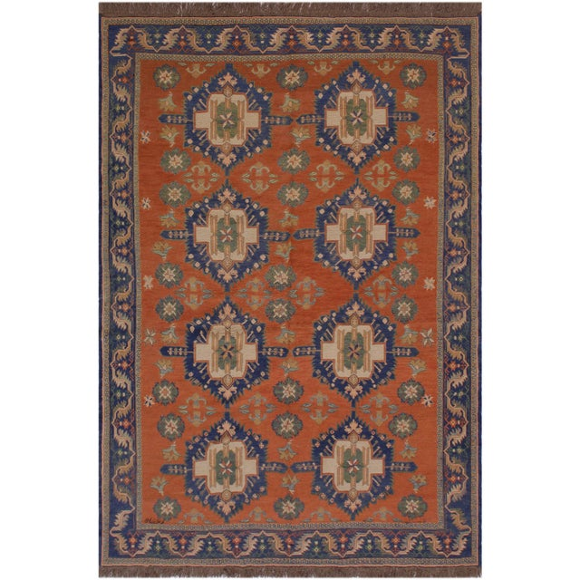 """Terra Cotta 1950s Antique Tribal Soumakh Sally Wool Rug - 6'7"""" X 9'2"""" For Sale - Image 8 of 9"""