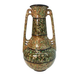 Large Art Nouveau Mixed Earth Vase For Sale