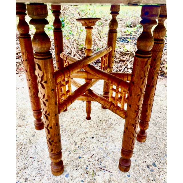 Moorish Chic Moroccan Engraved Brass Tray Table For Sale - Image 4 of 8