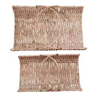 Extra Large Whitewashed Wicker Baskets With Heavy Gauge Metal Framing - a Pair For Sale