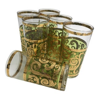 1960s Vintage Culver Green Baroque Style Highball Glasses - Set of 6 For Sale