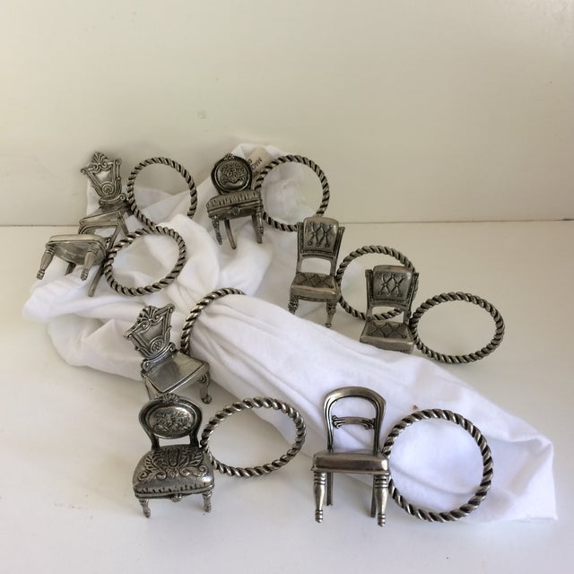 8 Vintage Pewter Victorian Chair Napkin Rings For Sale - Image 11 of 12