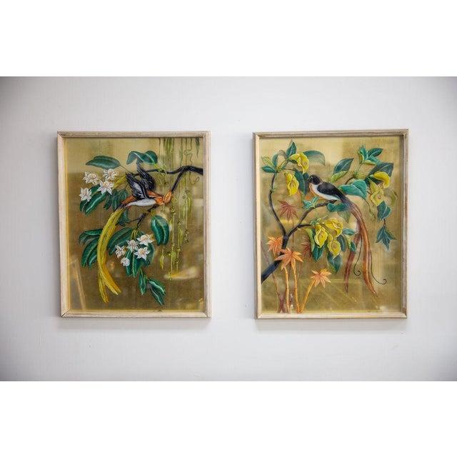 Vintage Mid-Century Reverse Bird Botanic Paintings - A Pair For Sale In Milwaukee - Image 6 of 6