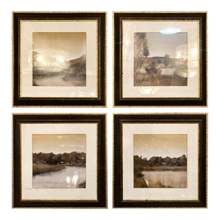 Prints in Trowbridge Gallery Frames, Lake and River Scenes - Set of 4 For Sale