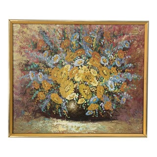 1970s Vintage Don Green Floral Bouquet Oil Painting For Sale