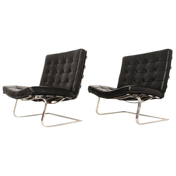 Knoll Ludwig Mies Van Der Rohe Tugendhat Lounge Chairs for Knoll - A Pair For Sale - Image 4 of 10