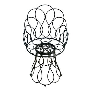 Art Nouveau Anthropologie Wrought Iron Petal Chair For Sale