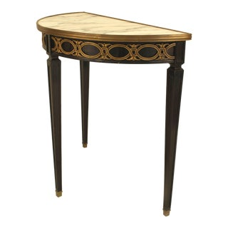 1940s French Louis XVI Style Bronze-Trimmed Ebonized Demilune, by Jansen For Sale