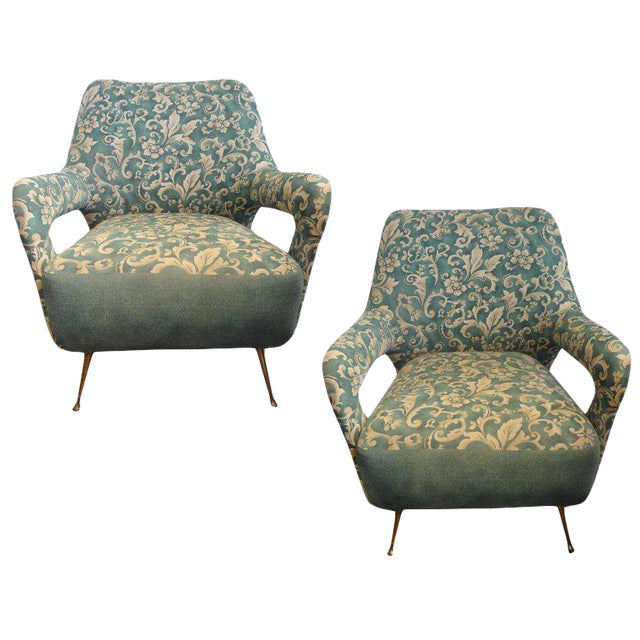 1960s Vintage Italian Gio Ponti Inspired Lounge Chairs- A Pair For Sale