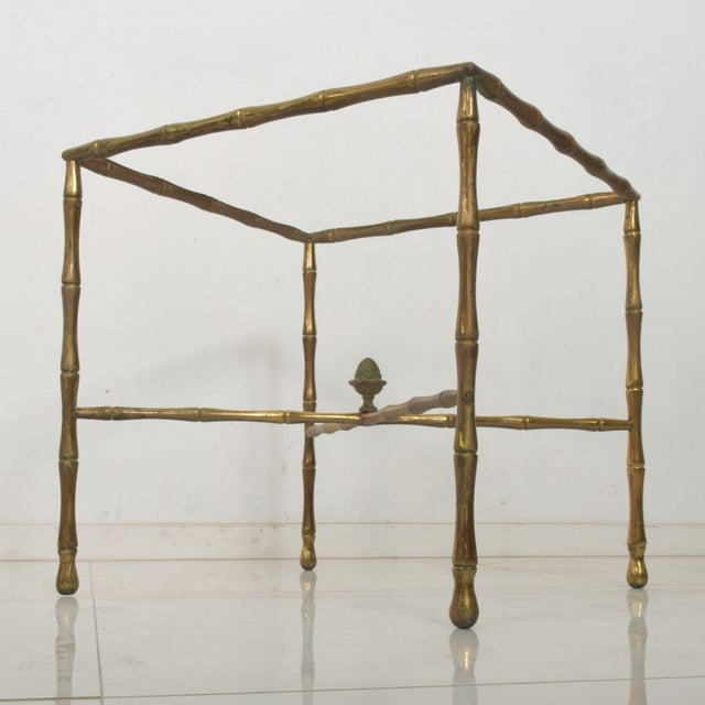 Gold Custom Hollywood Faux Bamboo Brass Side Table by Arturo Pani For Sale - Image 8 of 9